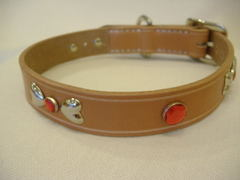 ハンドメイド革製首輪 Ribbon レッド Mサイズ