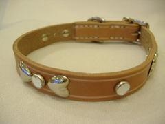 ハンドメイド革製首輪 Ribbon クリア Sサイズ