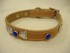 ハンドメイド革製首輪 Ribbon ブルー Sサイズ