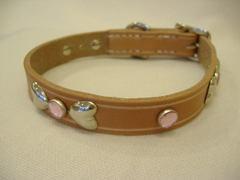 ハンドメイド革製首輪 Ribbon ピンク Sサイズ
