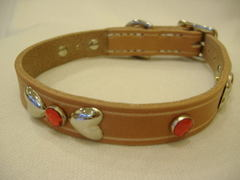 ハンドメイド革製首輪 Ribbon レッド Sサイズ
