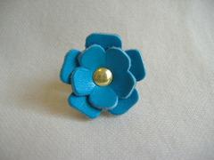 革製プチコサージュ ブルー