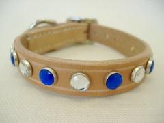 ハンドメイド革製首輪 Jewel ブルー Sサイズ
