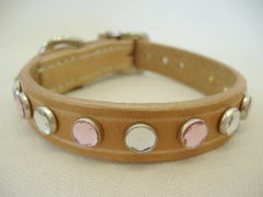 ハンドメイド革製首輪 Jewel ピンク Sサイズ