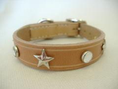 ハンドメイド革製首輪 Star クリア Sサイズ