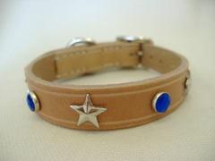 ハンドメイド革製首輪 Star ブルー Sサイズ