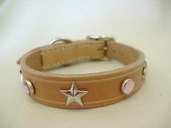 ハンドメイド革製首輪 Star ピンク Sサイズ
