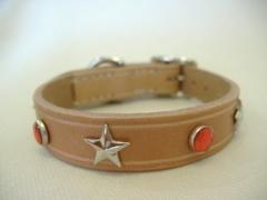 ハンドメイド革製首輪 Star レッド Sサイズ