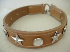 ハンドメイド革製首輪 Star クリア Mサイズ