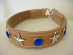 ハンドメイド革製首輪 Star ブルー Mサイズ