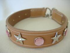 ハンドメイド革製首輪 Star ピンク Mサイズ