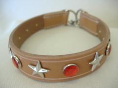 ハンドメイド革製首輪 Star レッド Mサイズ