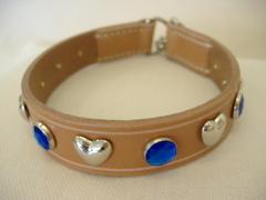 ハンドメイド革製首輪 Haert ブルー Mサイズ