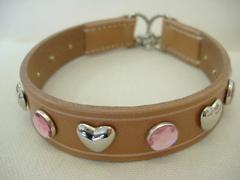 ハンドメイド革製首輪 Haert ピンク Mサイズ