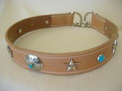 ハンドメイド革製首輪 Turquoise Lサイズ
