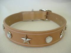 ハンドメイド革製首輪 Star クリア Lサイズ
