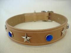 ハンドメイド革製首輪 Star ブルー Lサイズ