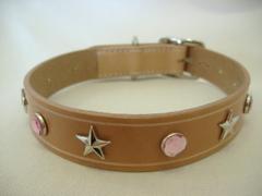 ハンドメイド革製首輪 Star ピンク Lサイズ