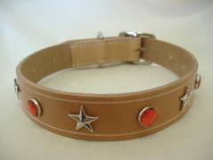 ハンドメイド革製首輪 Star レッド Lサイズ
