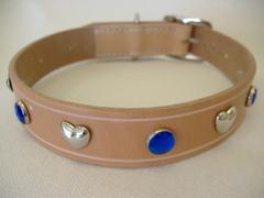ハンドメイド革製首輪 Haert ブルー Lサイズ