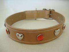 ハンドメイド革製首輪 Haert レッド Lサイズ