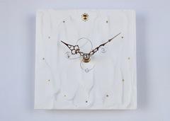 白い時計(15cm角)