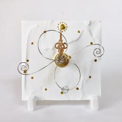 白い置時計(7.5cm角)