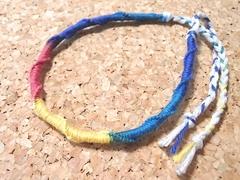 刺子糸のカラフルミサンガ