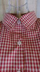 チェックシャツ赤✕ベージュ