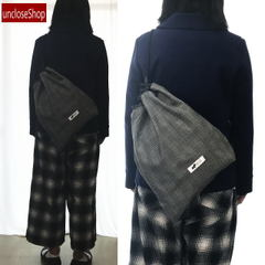 【巾着バッグ】ドロストショルダーバッグ・グレンチェックBW