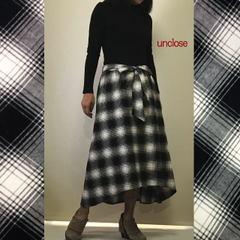 キット/モノトーンフランネルチェックで作るイレギュラーヘムミモレ丈スカート(裏付き)