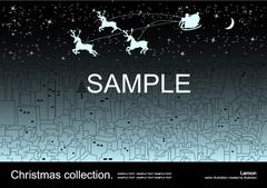 No378 クリスマス サンタクロース トナカイ 街 ブルー【AI】