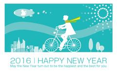 No1190 デザイン年賀状 自転車 【AI】
