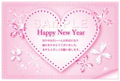 No465 年賀状 おしゃれ(テンプレート) キラキラ・花 ピンク