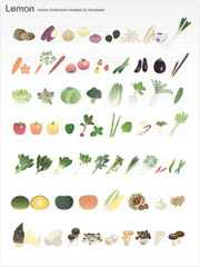 No.619 野菜のイラスト ナチュラルカラー 【AI】