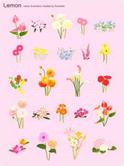 No.652 お洒落な花のイラスト