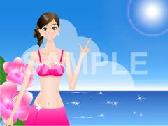 No.678 夏のイラスト 海と女とハイビスカス
