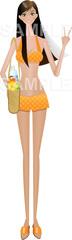 No.681 夏のイラスト 水着 女性 オレンジ