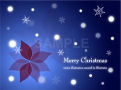 No1081 クリスマスのイラスト 雪とポインセチア 【AI】