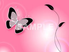 No785 キラキラ素材 蝶と葉 ピンク