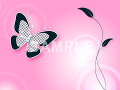 No786 キラキラ素材 蝶と葉 パープル