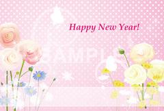 No920 年賀状 おしゃれ(テンプレート) 花と蝶 ピンク ドット