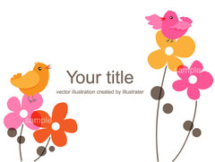 No.960 花と小鳥のイラスト ピンク