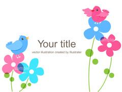 No.962 花と小鳥のイラスト ブルー
