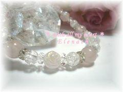 【24-19】ローズクォーツ・水晶のブレスレット