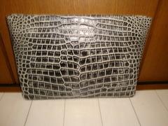 クロコダイル革(ドキュメントケース:書類ケース:A4収納寸)スモールワニ革、手染めグラデーション染革