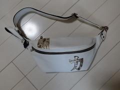 ベルトバッグ(力文字入り:パイソン革使用)ホワイト色