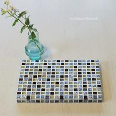 T様オーダー品 異素材Mix モザイクタイルのディスプレイトレイ(小物置き)Blue