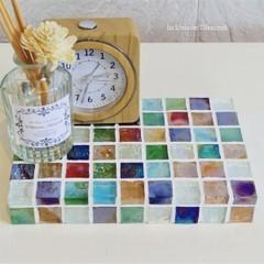 カラフルMix ガラスモザイクタイルのディスプレイトレイ(小物置き)中サイズ
