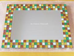 N様オーダー品 ガラスモザイクタイルの大型壁掛けミラー ブラウンMix